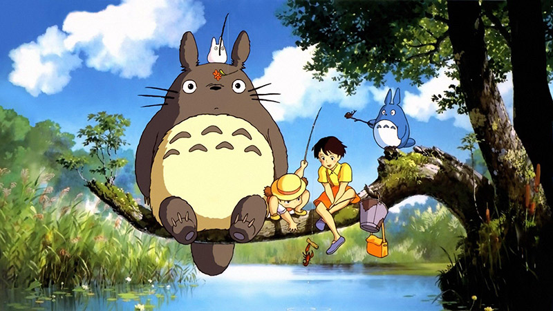 Characters from Totoro fishing