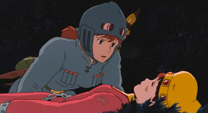Nausicaa leaning over an unconcious girl