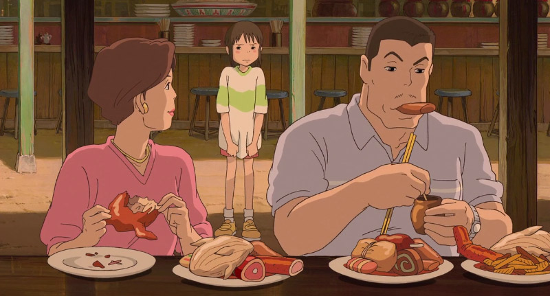 Screenshot of Chihiro's parents eating in Spirted Away