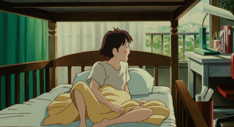 Girl looking at the clock in the morning in Whisper of the Heart