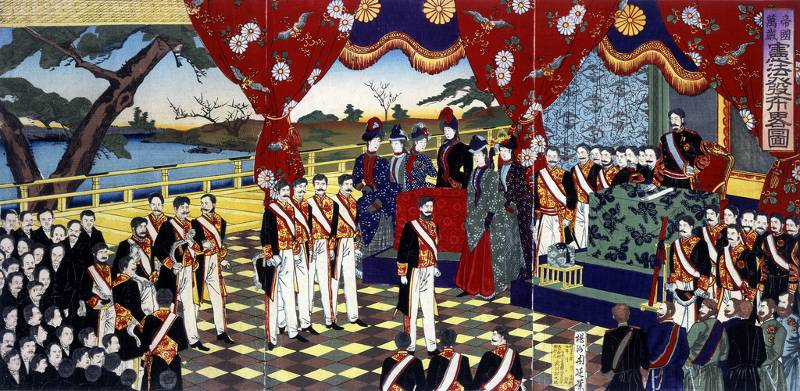 japanese colorful artwork depicting constitution ceremony