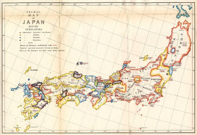 colorful drawn map of feudal japan