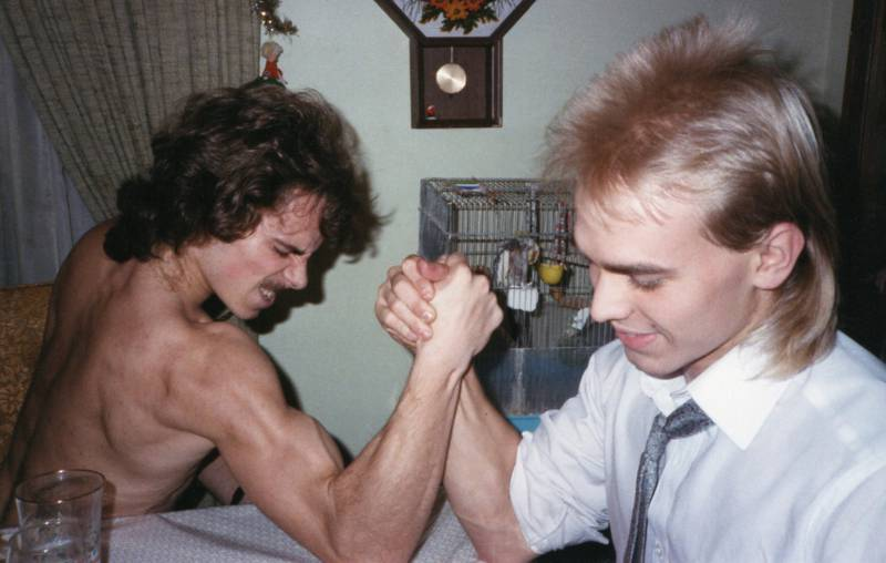 two weird men arm wrestling