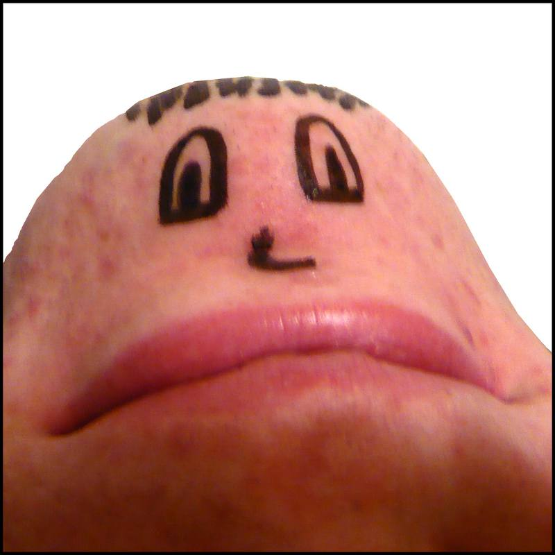 upside down chin with a face drawn on