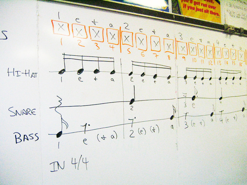 music theory on a white board drums