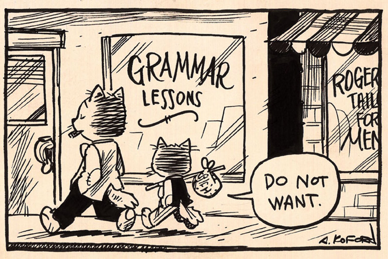 cartoon of cats going to grammar lessons