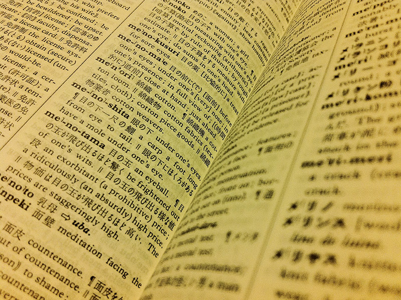 open page of an English Japanese dictionary