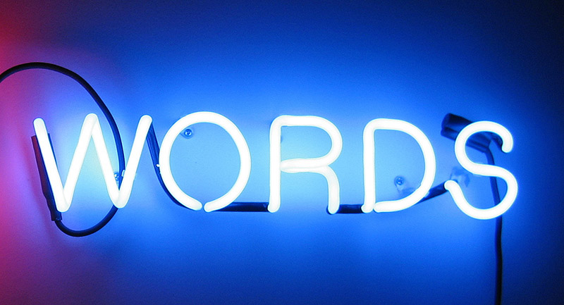 neon lights shaped into WORDS