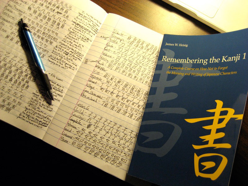 notebook full of practice kanji
