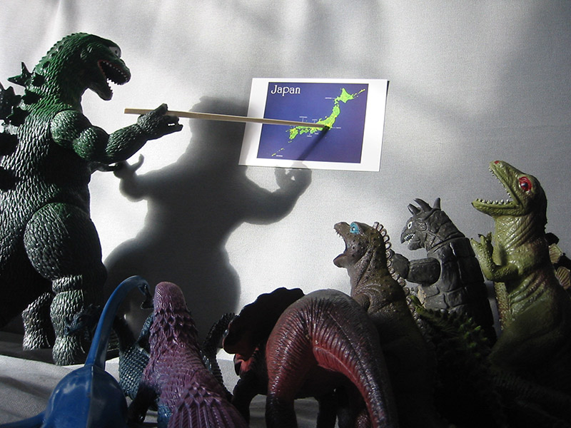 Godzilla planning his conquest of Japan