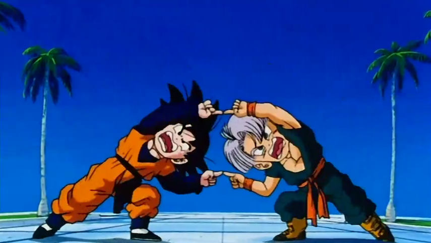Trunks and Goten from DBZ powering up together