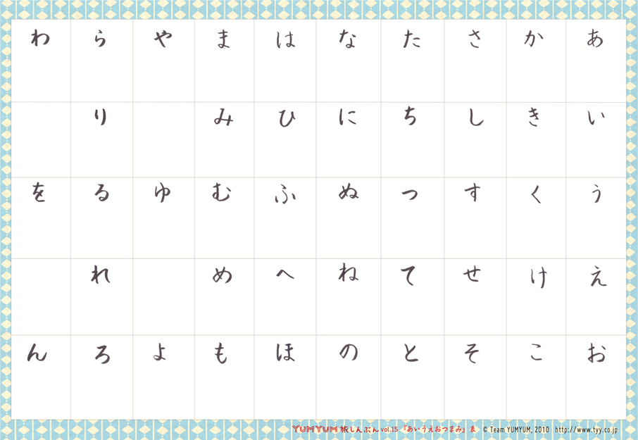 Make Your Own Hiragana Chart