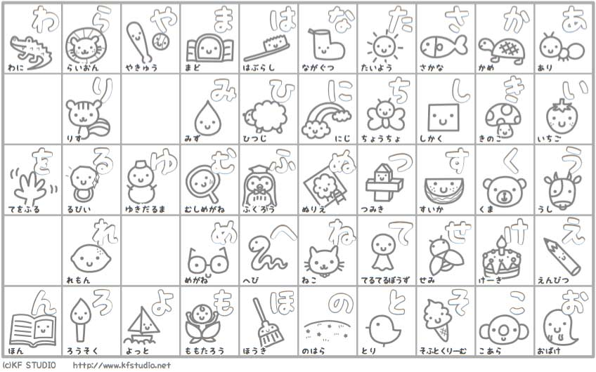 Kidsmoji hiragana chart black and white