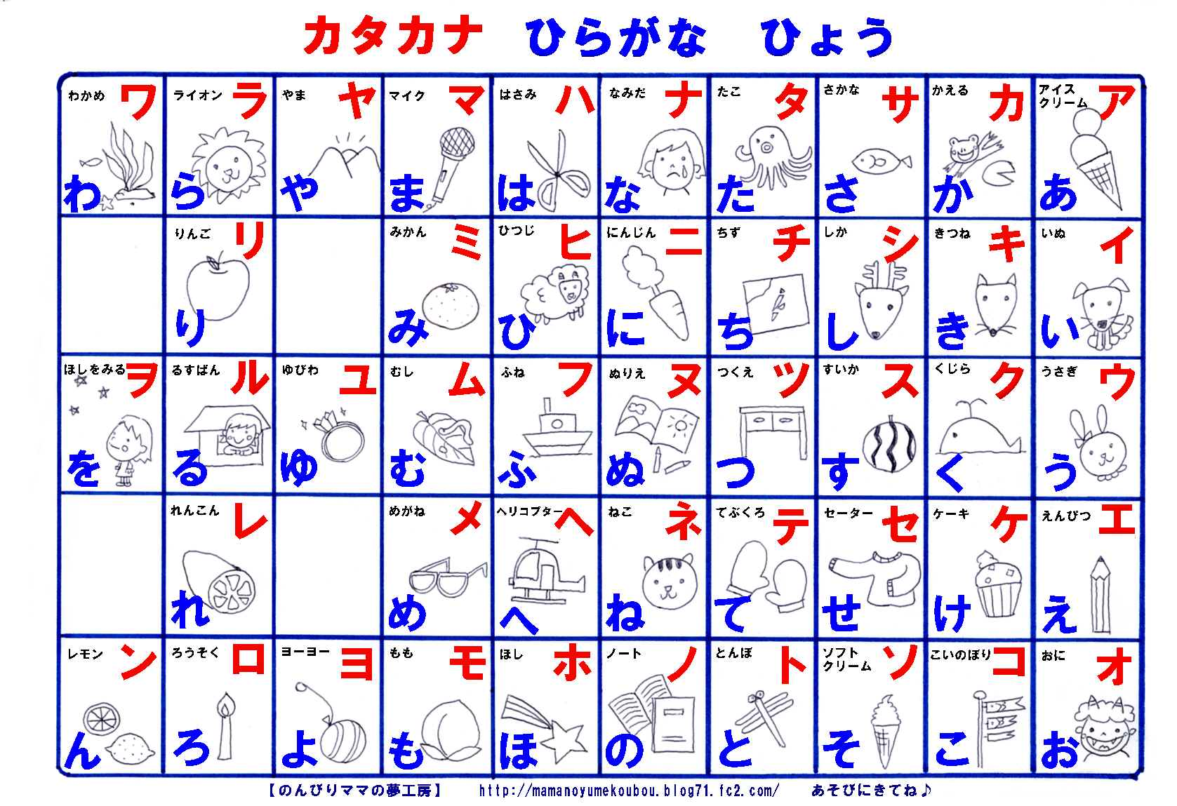 Mama No Yume Koubou S Hiragana And Katakana Chart