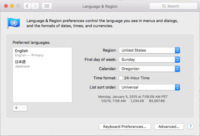 mac osx language and region dialog box