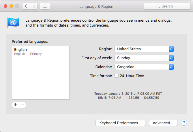 mac osx language and region