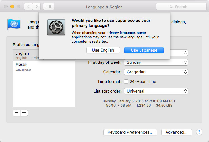 mac osx language setting