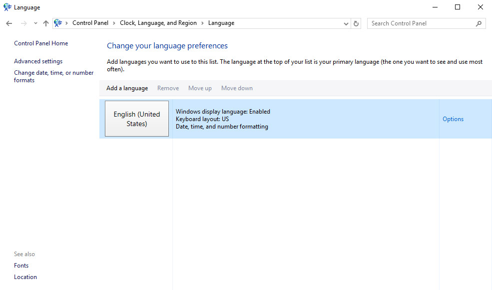 windows 10 add language feature