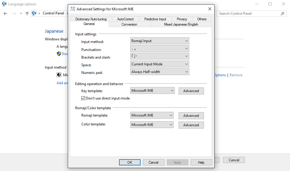 advanced settings for windows 10 ime