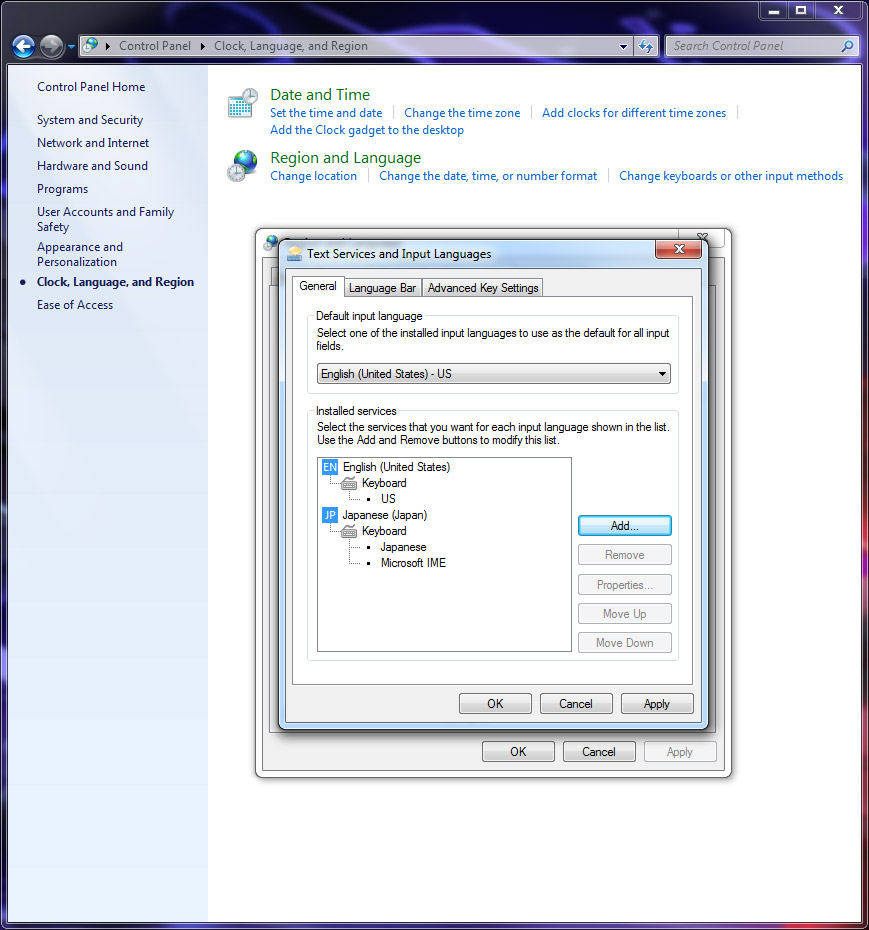 applying settings in windows 7