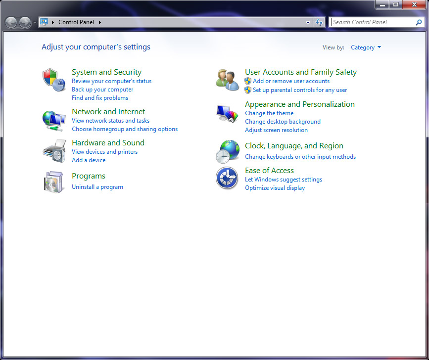 control panel for windows 7