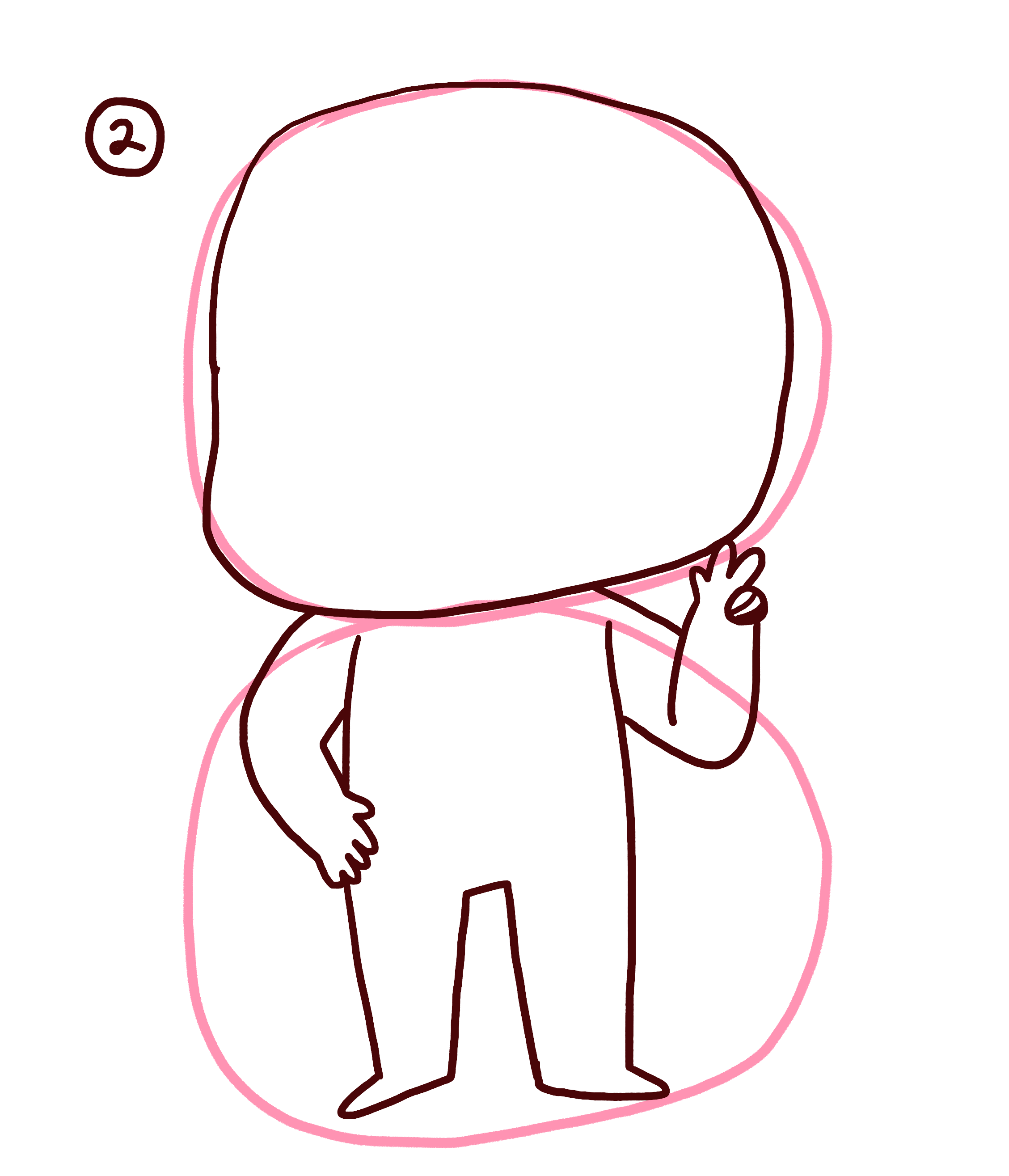 Draw the head and body