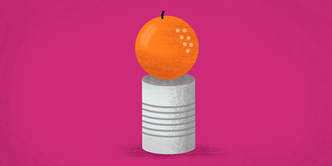 tangerine on top of a can