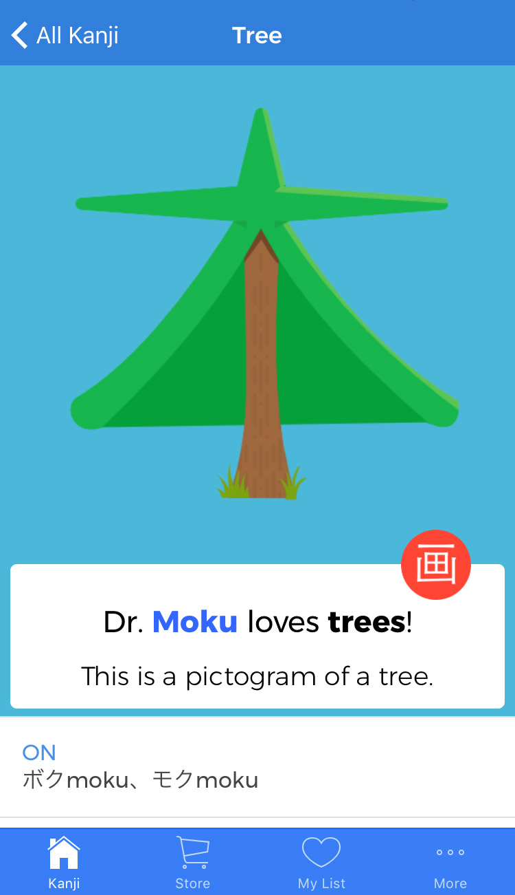tree mnemonic from dr moku japanese learning resource