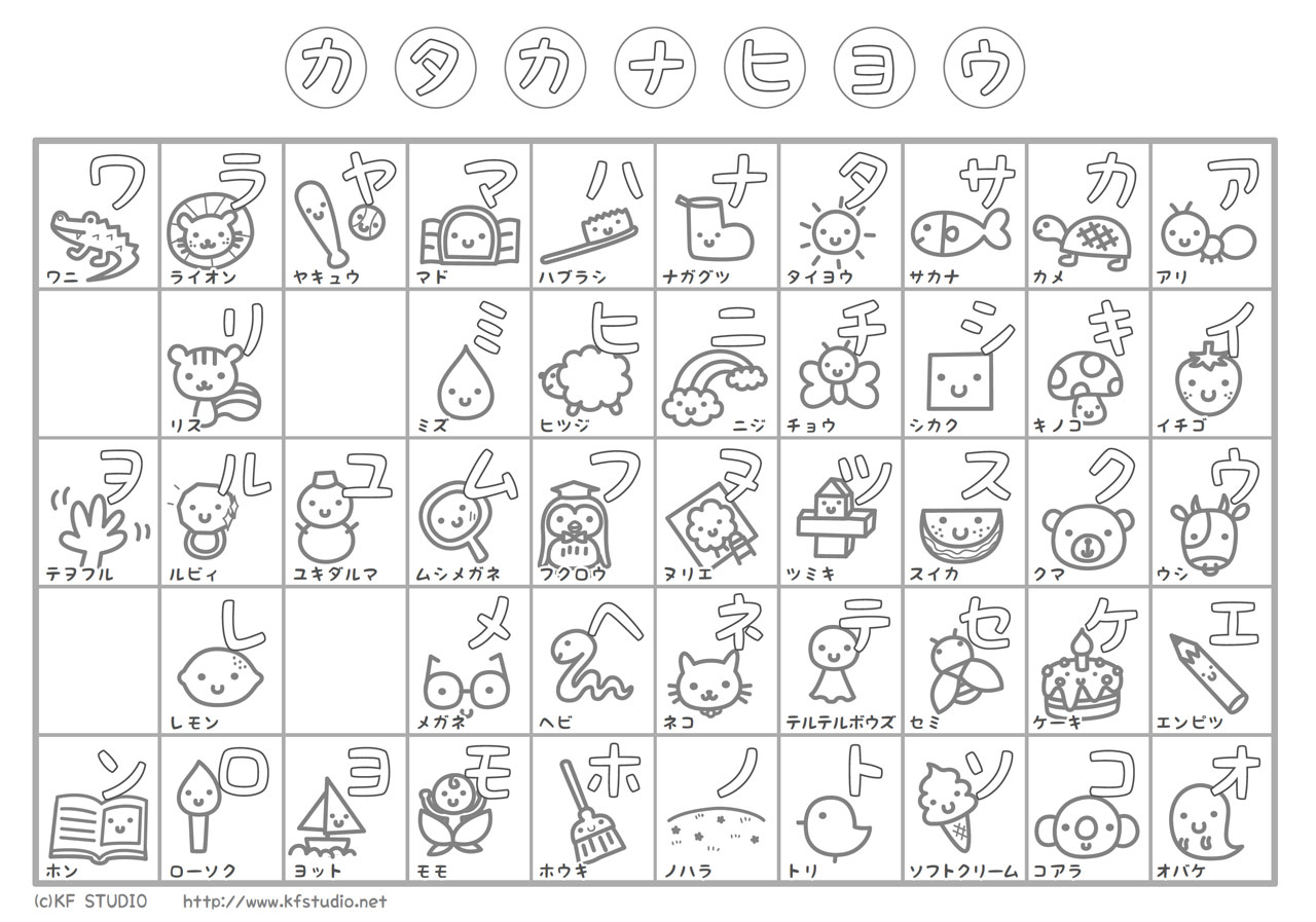 katakana learning chart coloring page