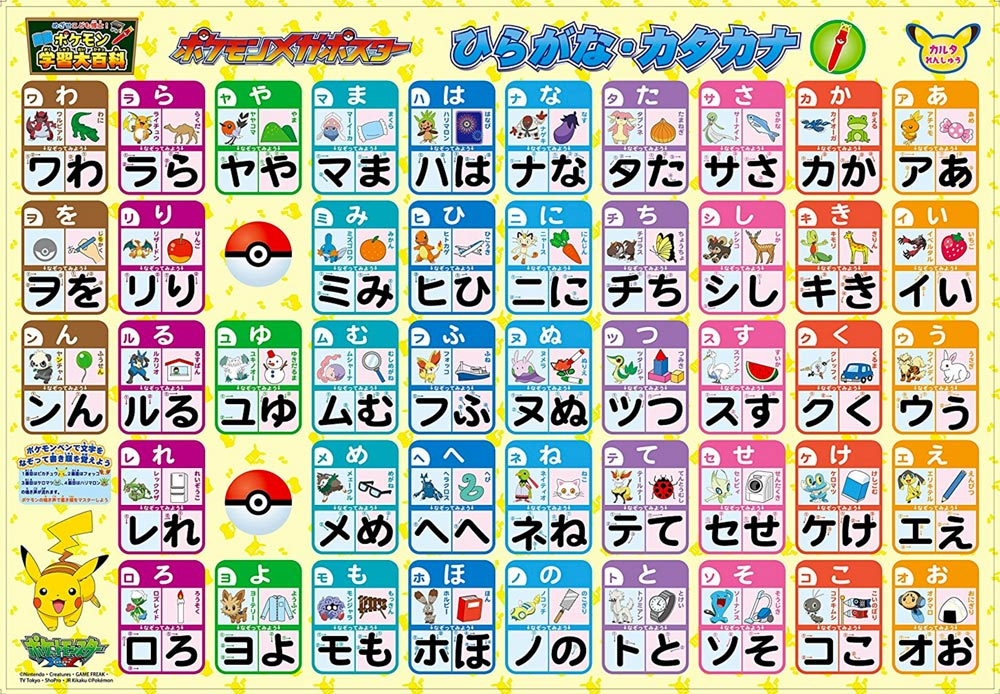 japanesen pokemon names in a katakana chart