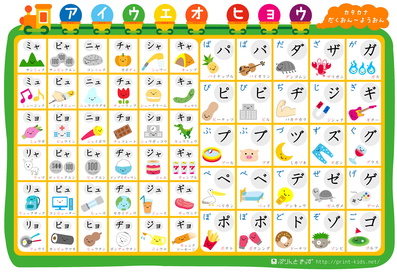 kawaii katakana learning chart