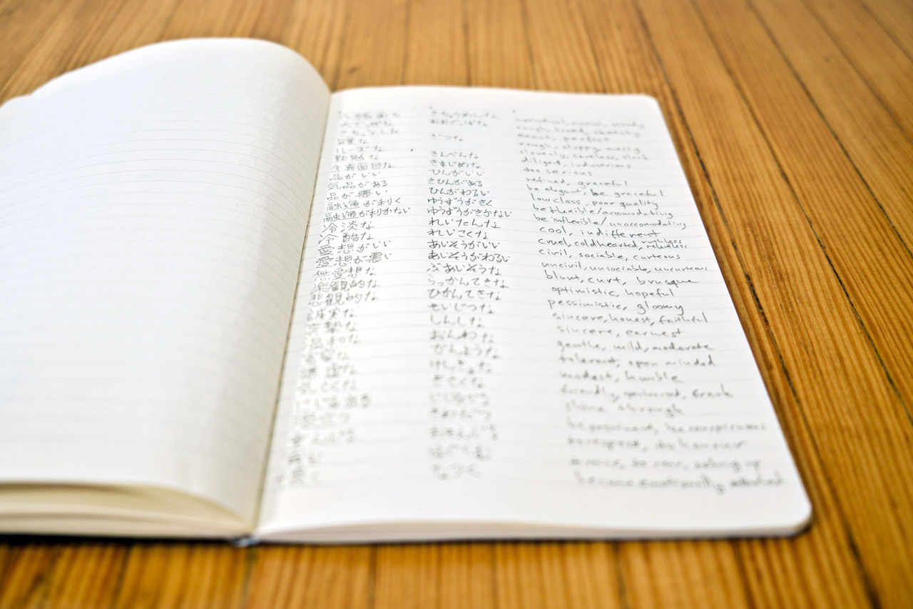 notebook filled with japanese vocabulary