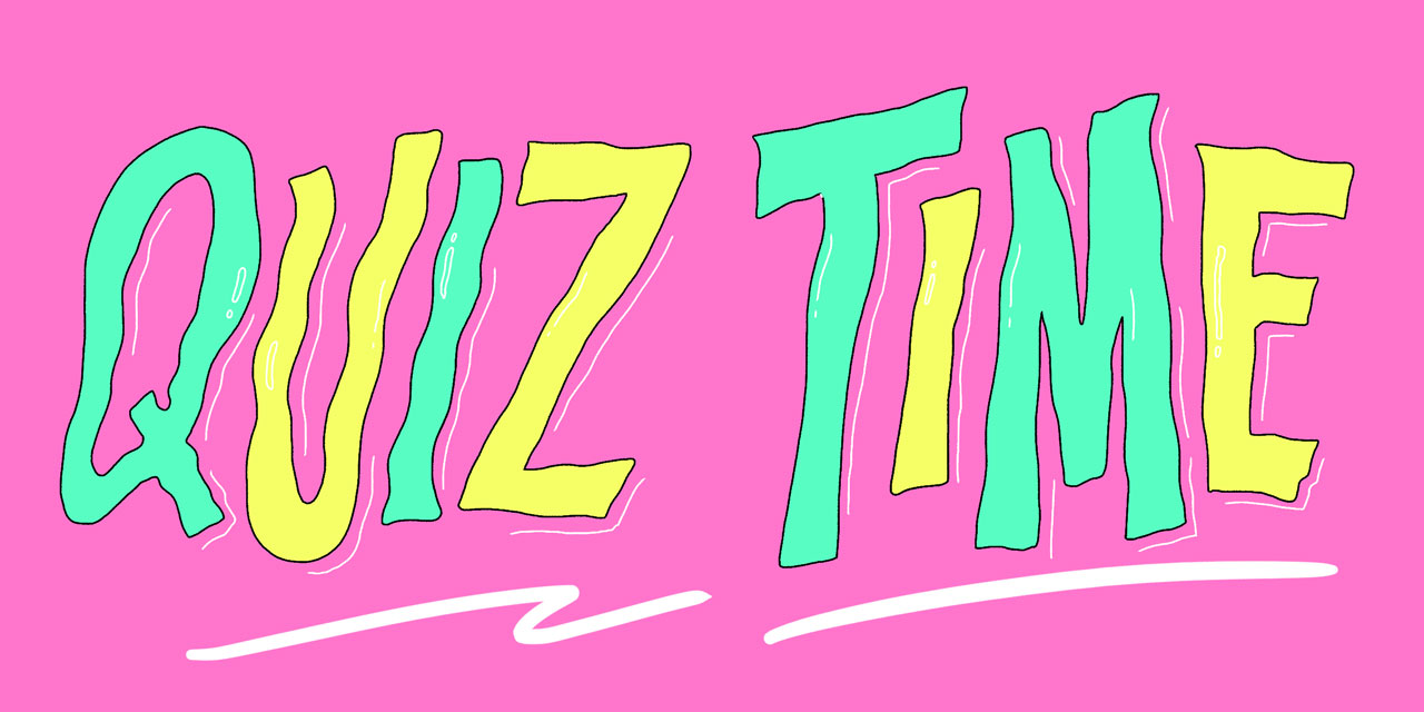 letters that say quiz time