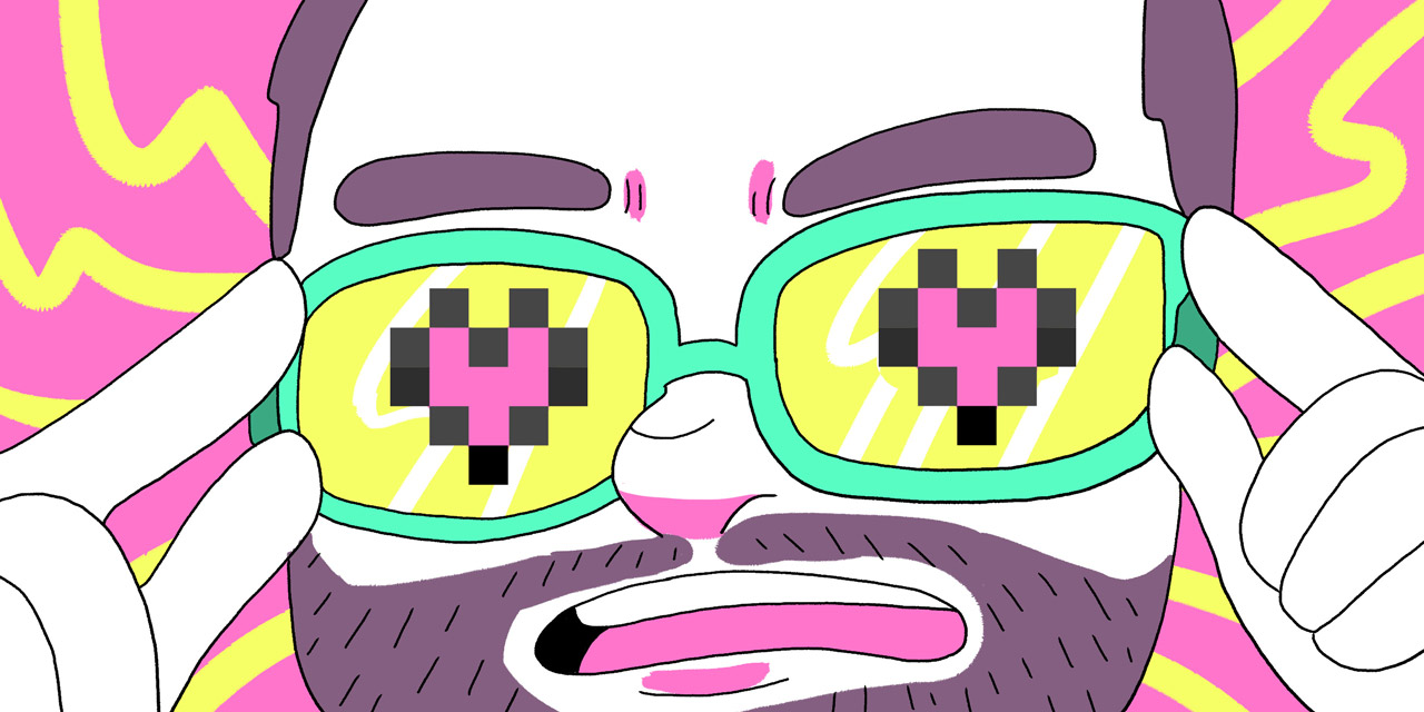 michael from tofugu wearing 8-bit glasses