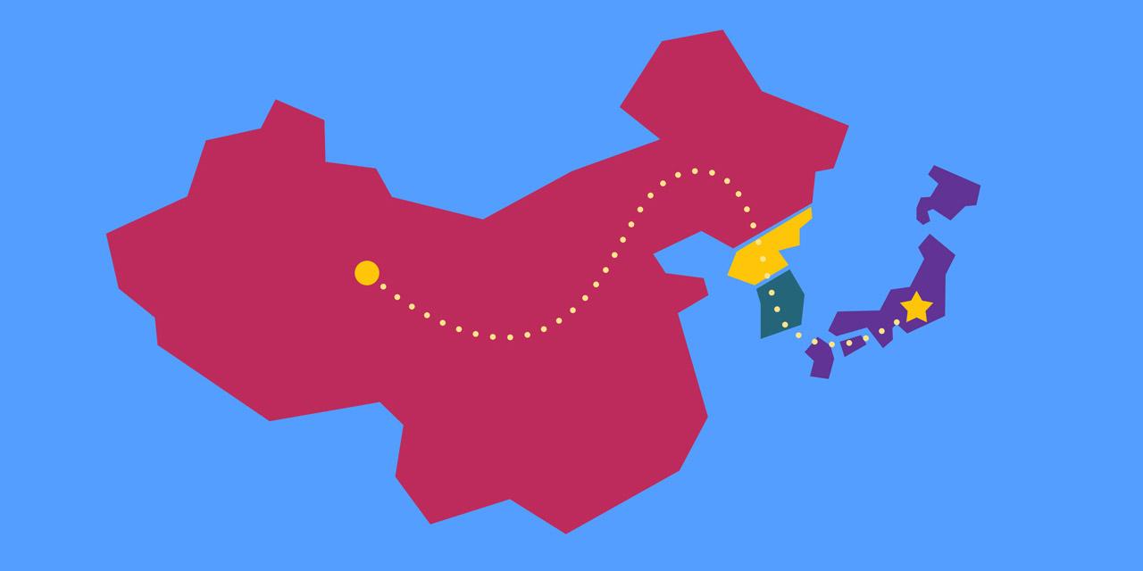 98041cf72ef69 map of china korea and japan showing kanji migration