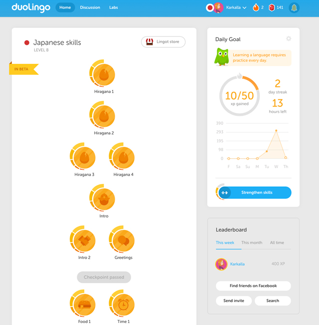 screenshot of duolingo for browsers