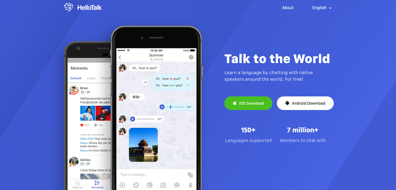 landing page for hellotalk japanese conversation app