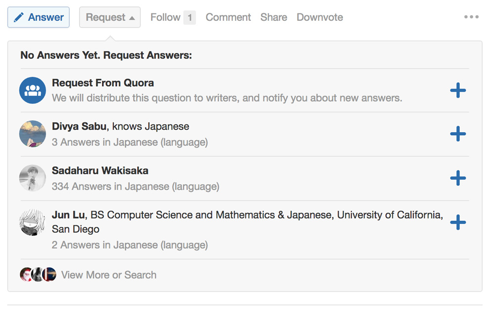 user suggestions from quora