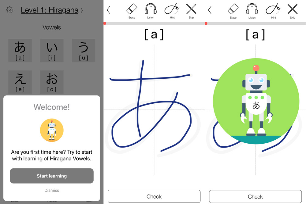 screens from robokana  japanese learning app