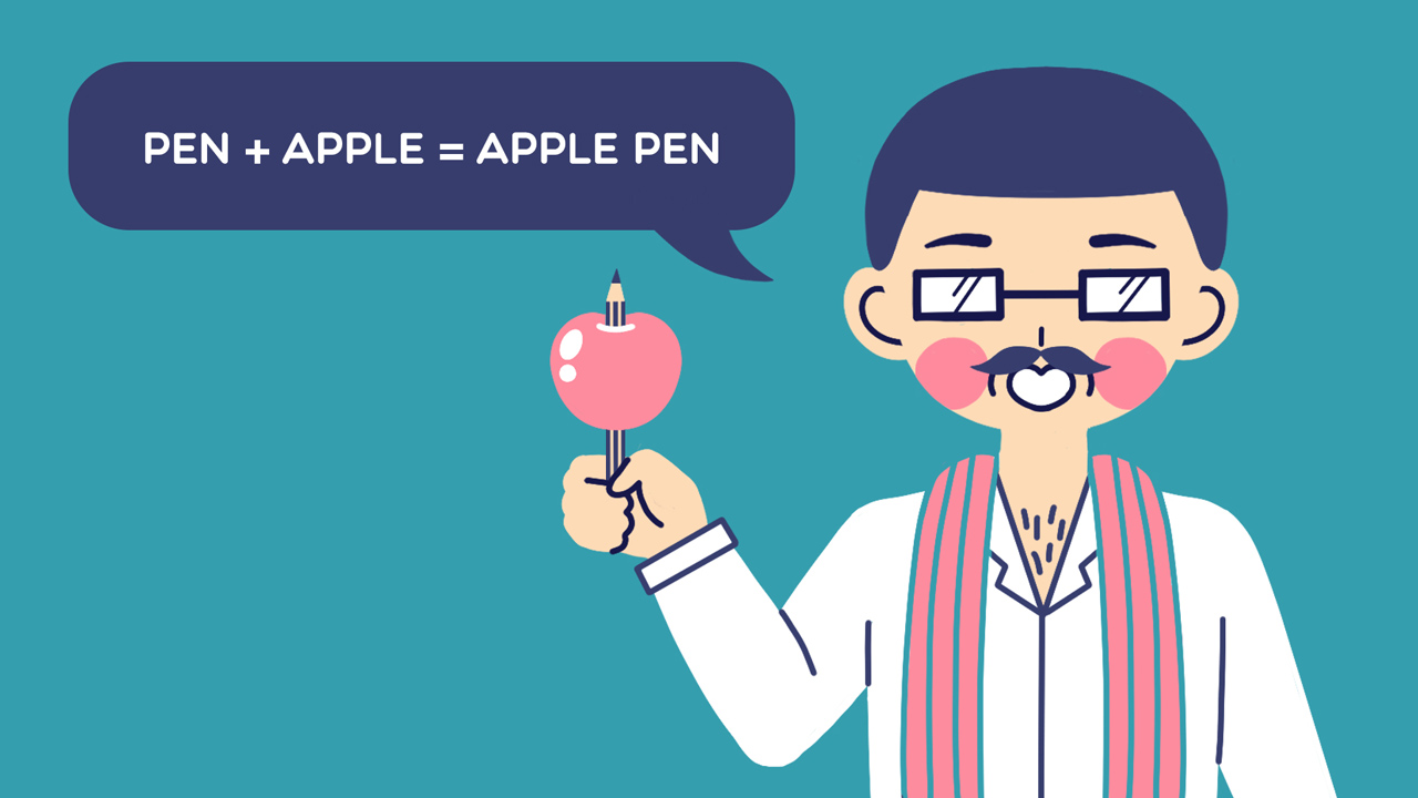 man in scarf holding pencil stabbed into apple