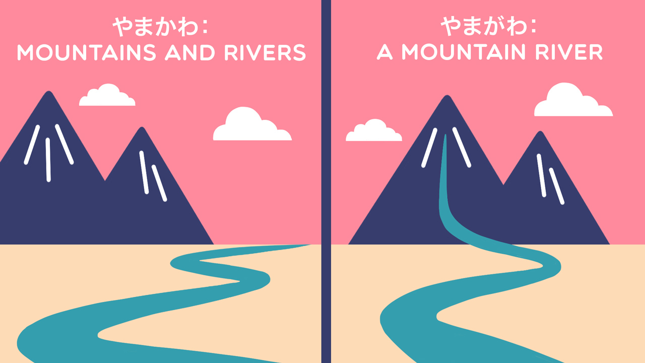 two images of mountains and rivers