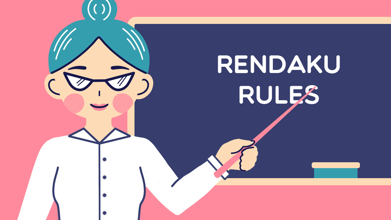 teacher pointing at chalkboard with words rendaku rules