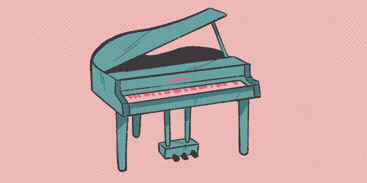 blue grand piano on a soft pink background