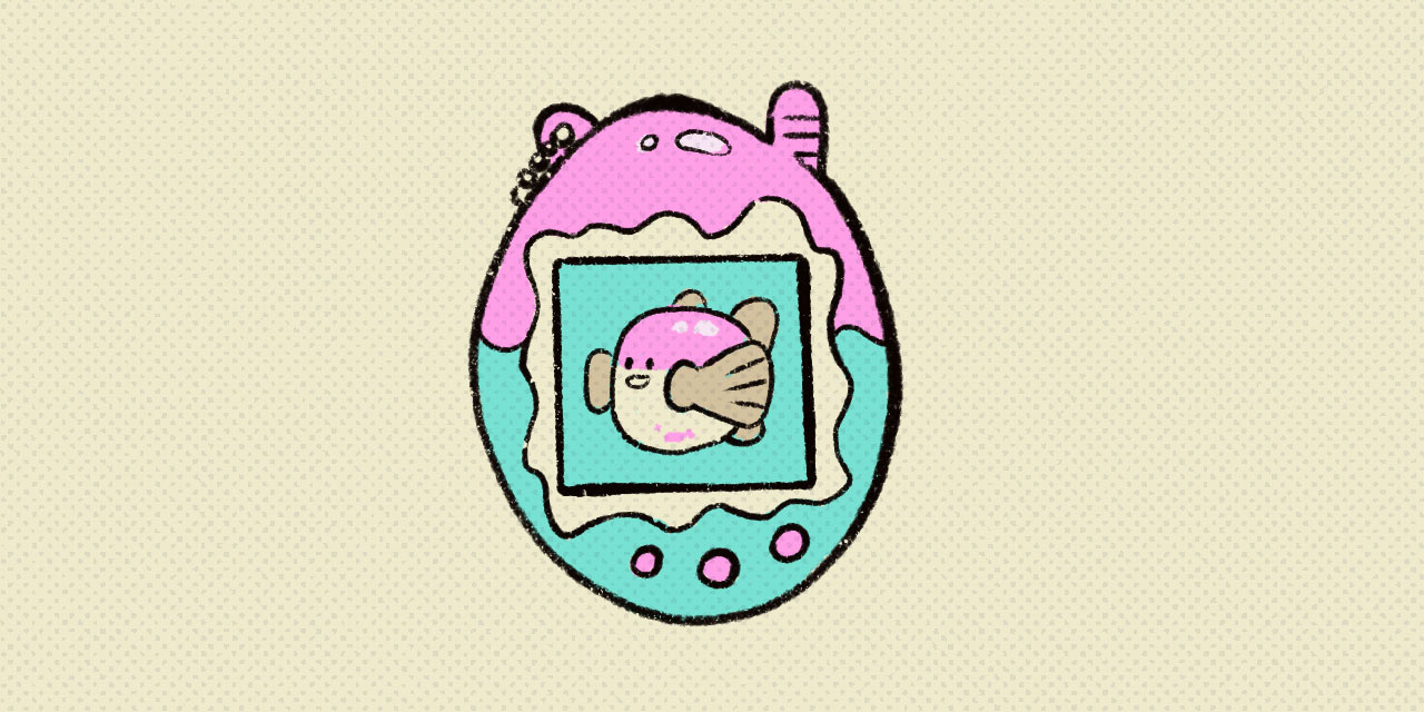 tamagotchi game with tofugu in screen
