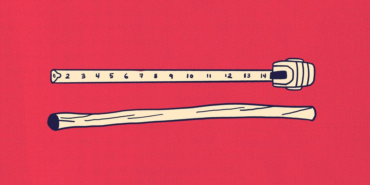 tape measure measuring a stick
