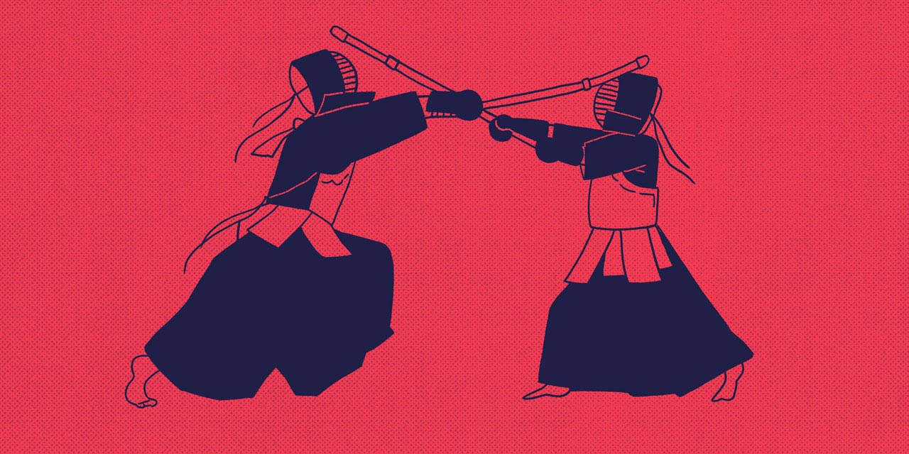 two people doing kendo