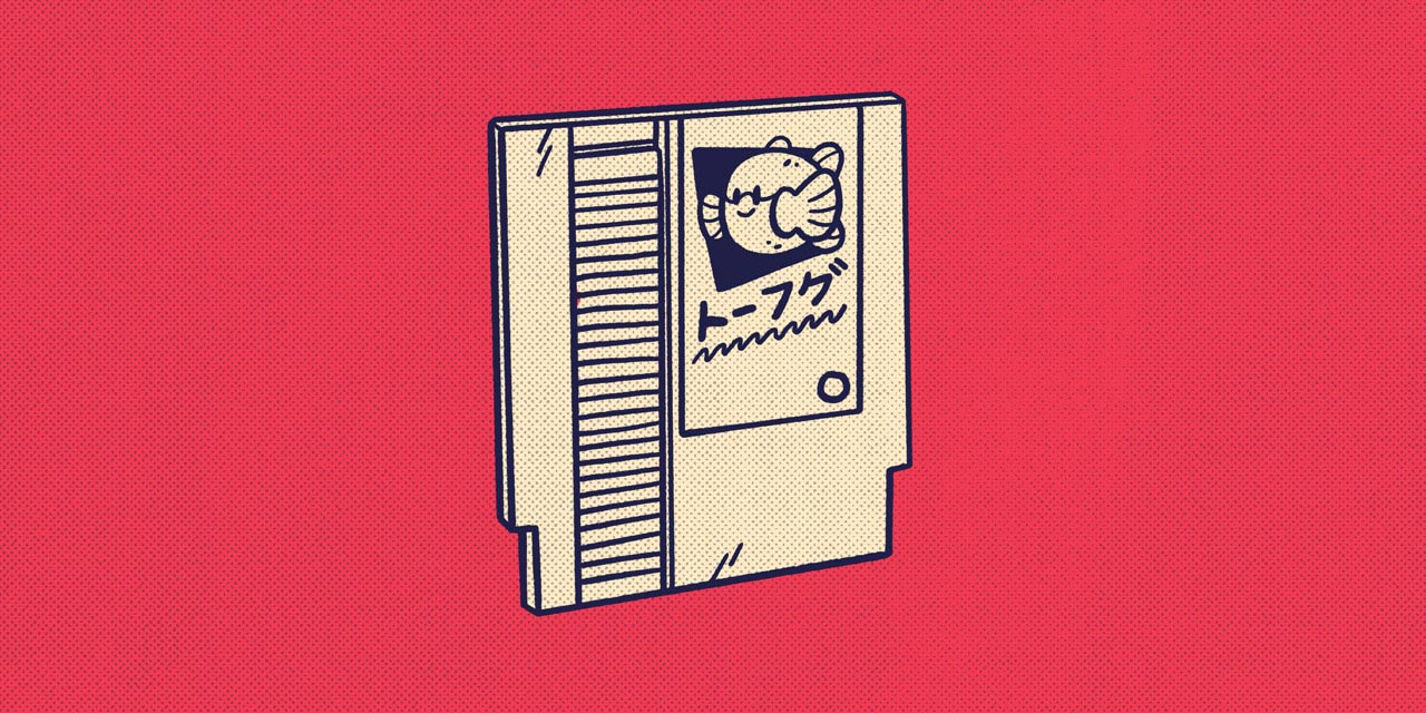 NES cartridge with tofugu mascot and logo