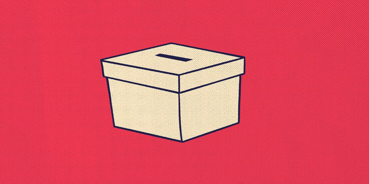 a ballot box with a hole cut in the lid