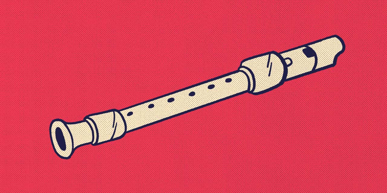 flute recorder with red background
