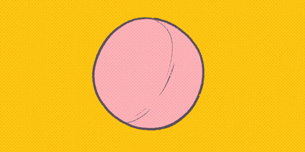 pink ball on a yellow background